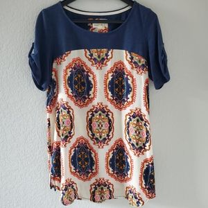 Anthro Meadow Rue mixed fabric tunic top